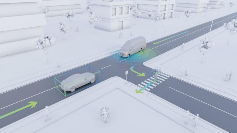 Ungeregelte Kreuzung mit einem autonomen Transportfahrzeug